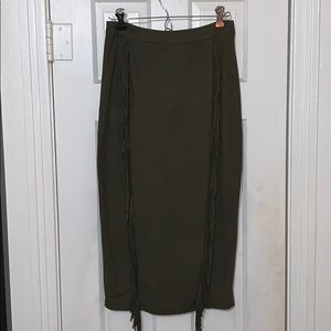 Forget green suede pencil skirt
